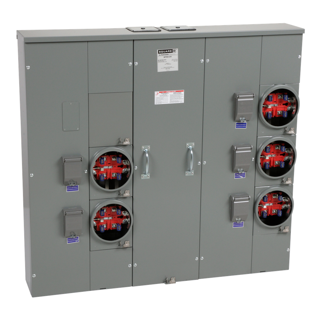 Mayer-MP Meter Pak, meter center, five ringless sockets, no bypass, 5th jaw, OH, UG, 800 A bus, 200 A, 240 VAC single phase 3W-1