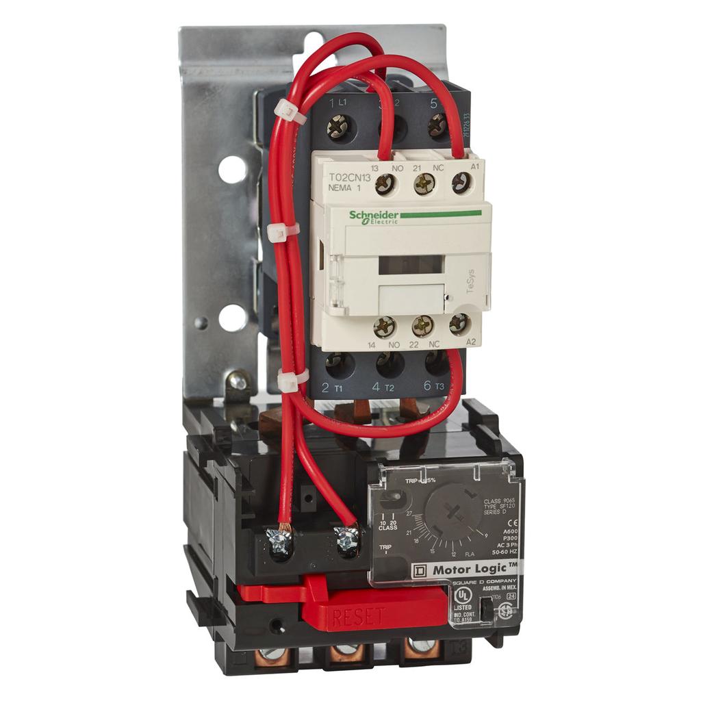 Mayer-Motor Starter, TeSys NEMA, nonreversing, Size 0, 18A, 3 pole, HP rated, Motor Logic SSOLR, 120 VAC 60 Hz coil, open-1