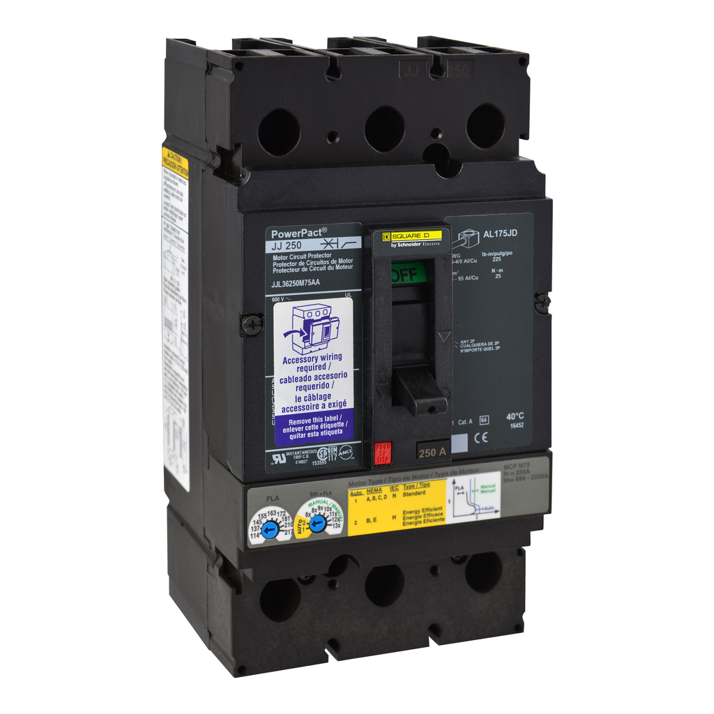 Mayer-Motor circuit protector, PowerPacT J, unit mount, 250A, 3 pole, 25 kA, 600 VAC-1