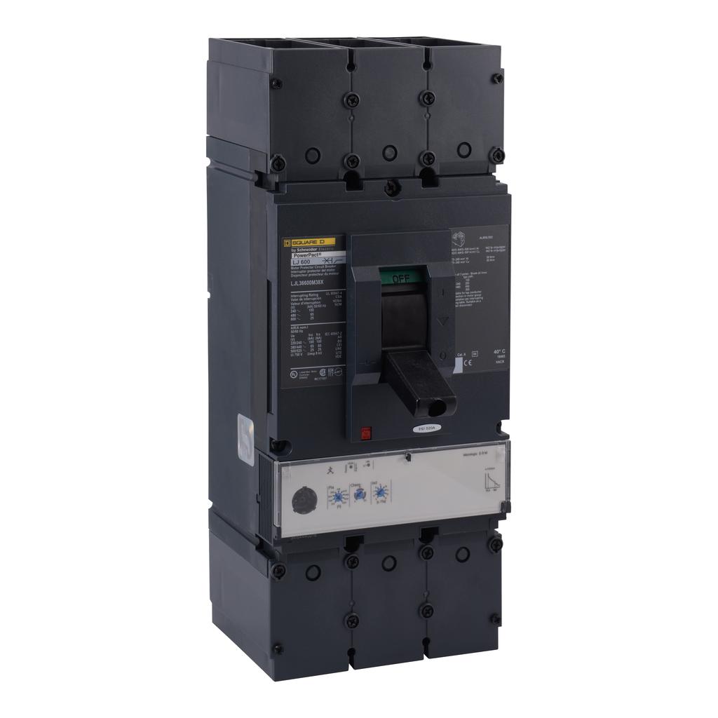 Mayer-Motor curcuit protector, PowerPact L, unit mount, Micrologic 2.2M, 600A, 3 pole, 600 VAC, 25 kA-1