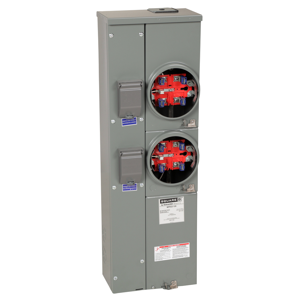 Mayer-MP Meter Pak, meter center, two ringless sockets, no bypass, 5th jaw, OH, UG, 200 A bus, 125 A, 240 VAC single phase 3W-1