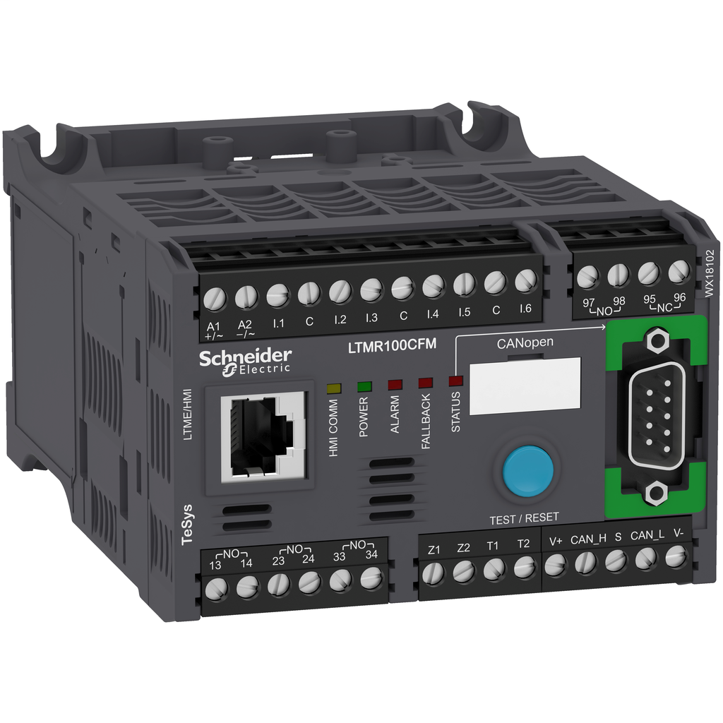 Mayer-Motor Management, TeSys T, motor controller, CANopen, 6 logic inputs, 3 relay logic outputs, 5 to 100A, 100 to 240 VAC-1