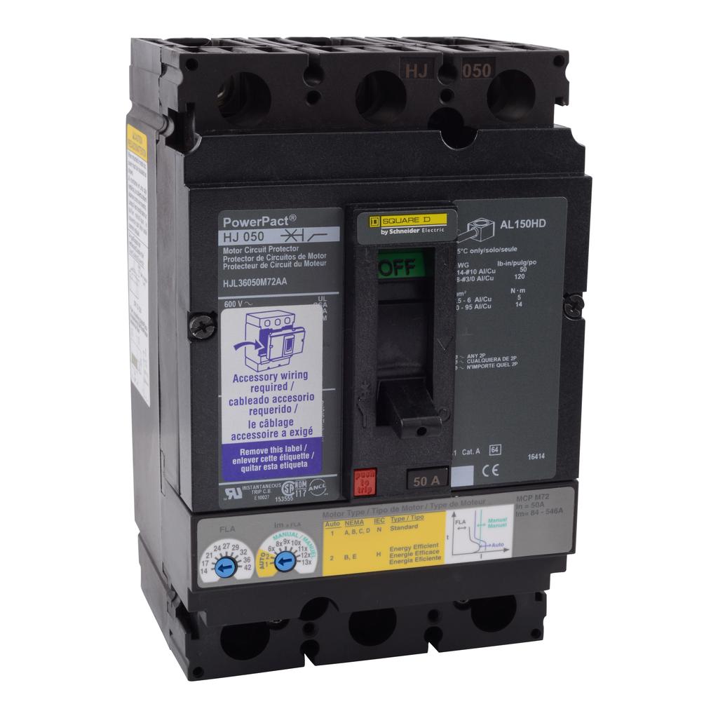 Mayer-Motor circuit protector, PowerPacT H, unit mount, 50A, 3 pole, 25 kA, 600 VAC, alarm switch, 80% rated-1
