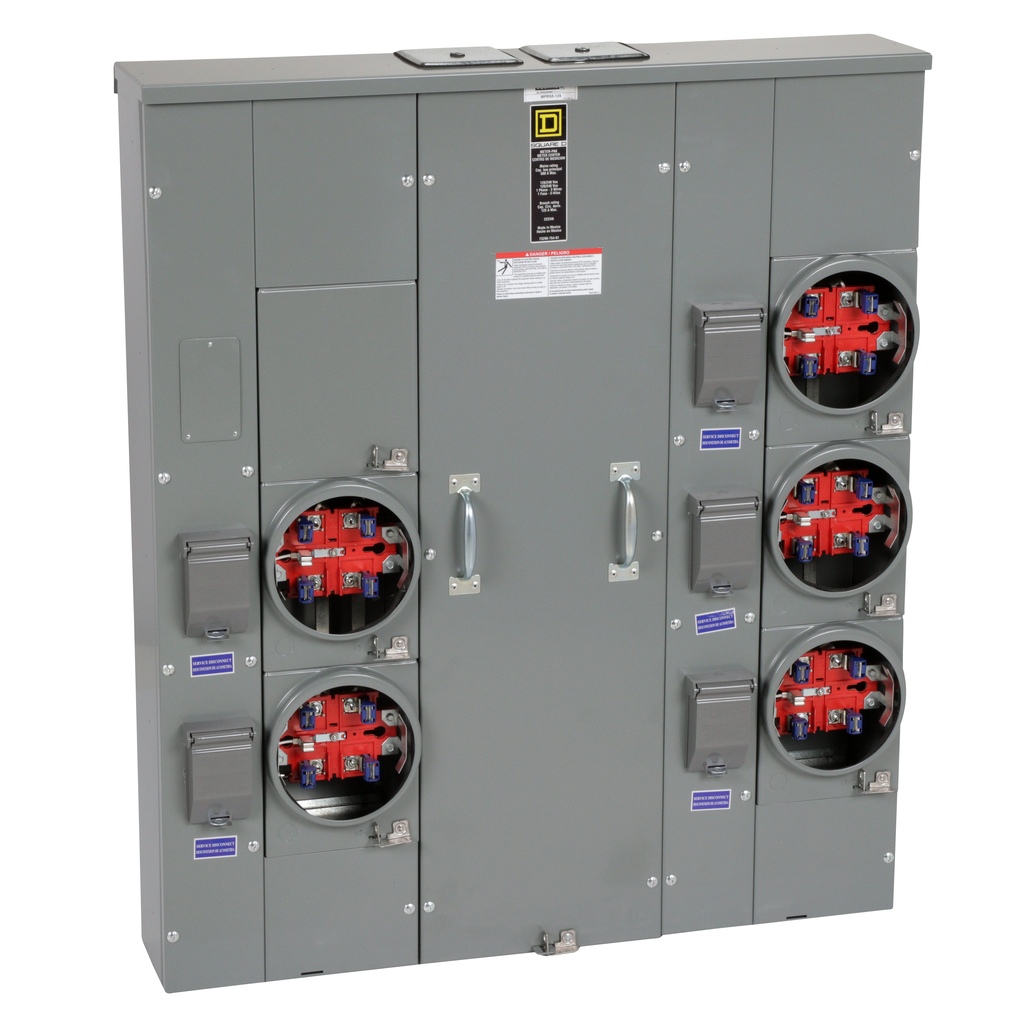 Mayer-MP Meter Pak, meter center, five ringless sockets, no bypass, 5th jaw, OH, UG, 500 A bus, 125 A, 240 VAC single phase 3W-1