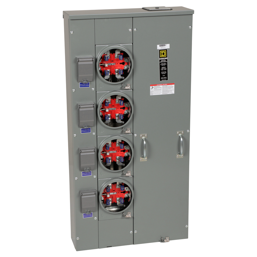 Mayer-MP Meter Pak, meter center, four ringless sockets, horn bypass, 5th jaw, 400 A bus, 125 A, 240 VAC single phase 3W-1
