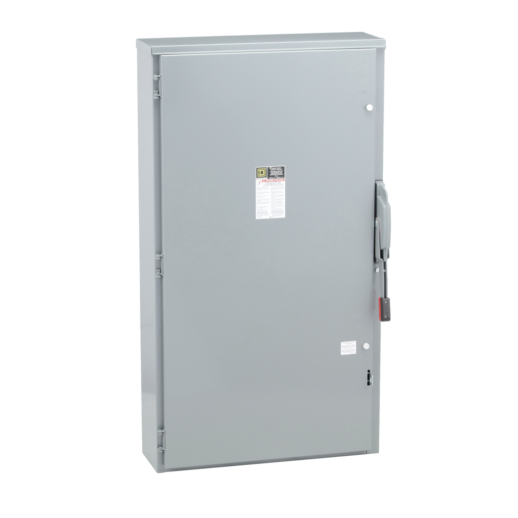 Mayer-Safety switch, heavy duty, fusible, 400A, 3 poles, 250 hp, 600 VAC/DC, NEMA 3R, neutral factory installed-1
