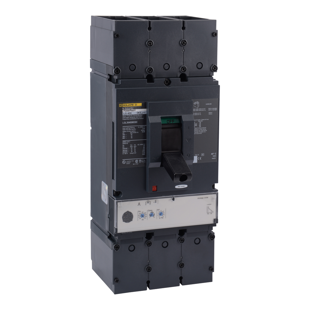 Mayer-Motor curcuit protector, PowerPact L, unit mount, Micrologic 2.2M, 600A, 3 pole, 18 kA, 600 VAC,-1
