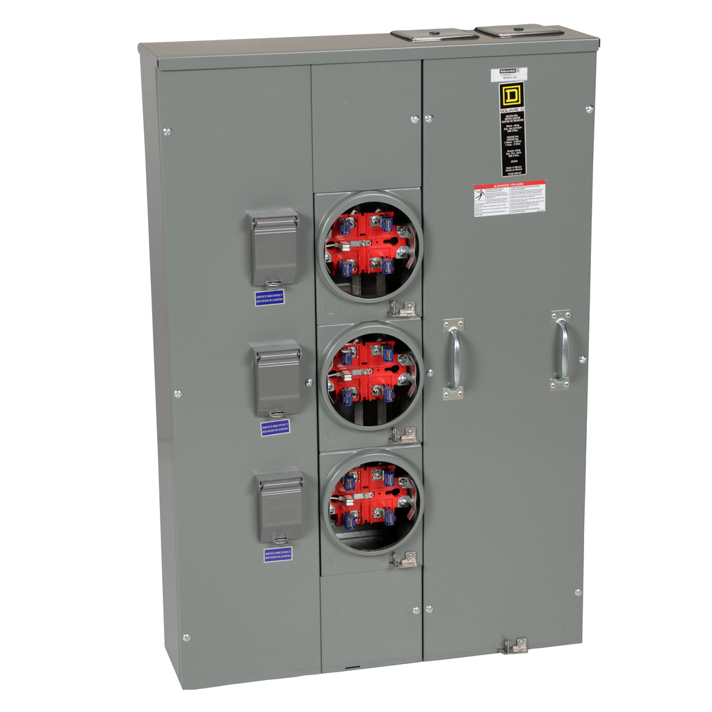 Mayer-MP Meter Pak, meter center, three ringless sockets, no bypass, 5th jaw, OH, UG, 400 A bus, 200 A, 240 VAC single phase 3W-1