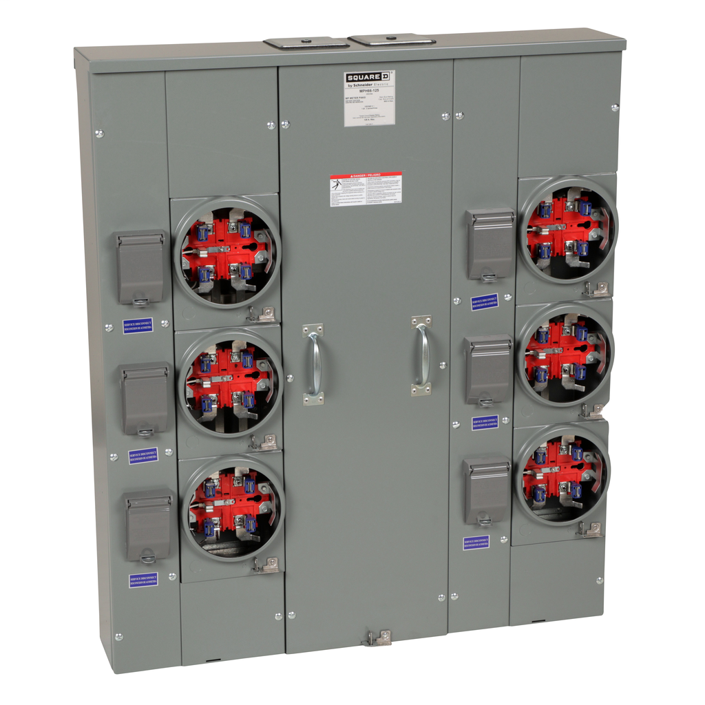 Mayer-MP Meter Pak, meter center, six ringless sockets, horn bypass, 5th jaw, 600 A bus, 125 A, 240 VAC single phase 3W-1