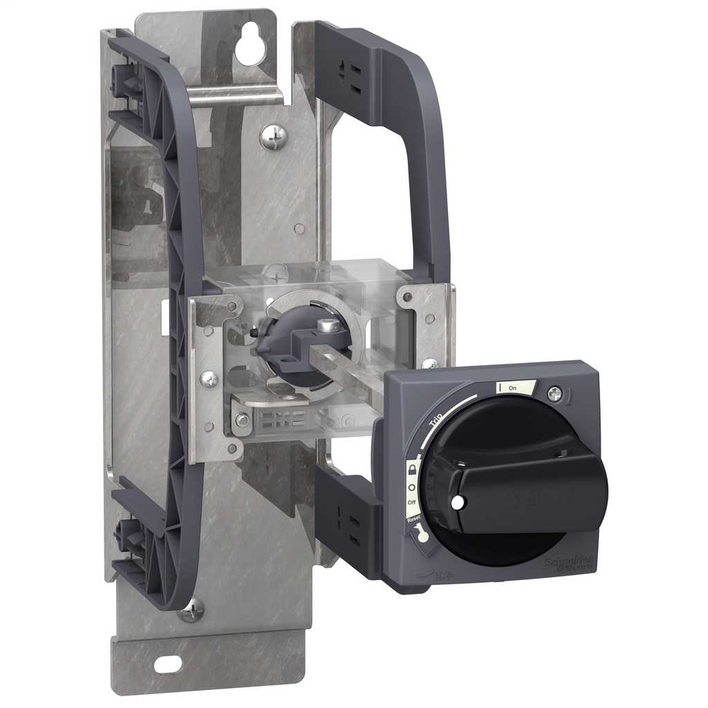 Mayer-Mounting bracket kit with extended rotary handle, TeSys U, IP54, black handle, with trip indication, for LUB-1