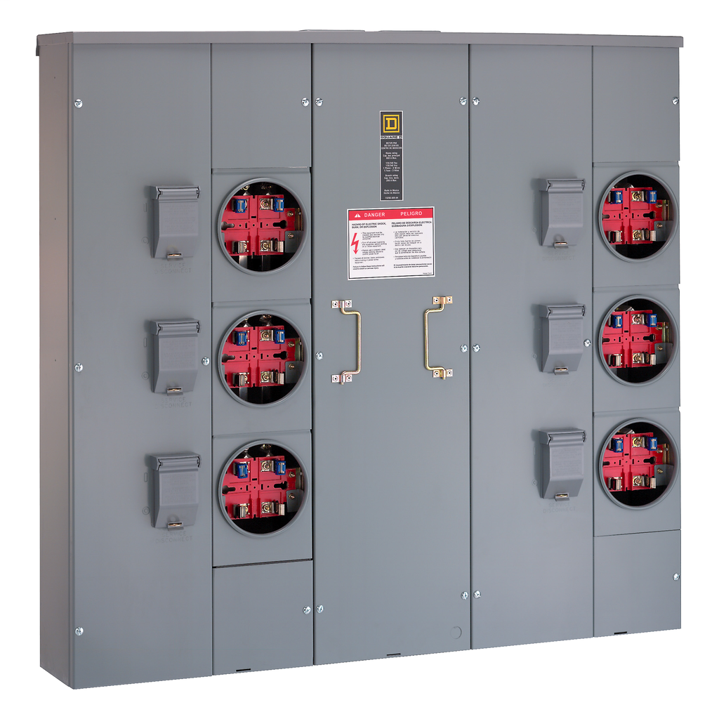 Mayer-MP Meter Pak, main lugs, six ringed sockets, no bypass, 4 jaws, OH, UG, 800 A bus, 200 A, 240 VAC single phase 3W-1