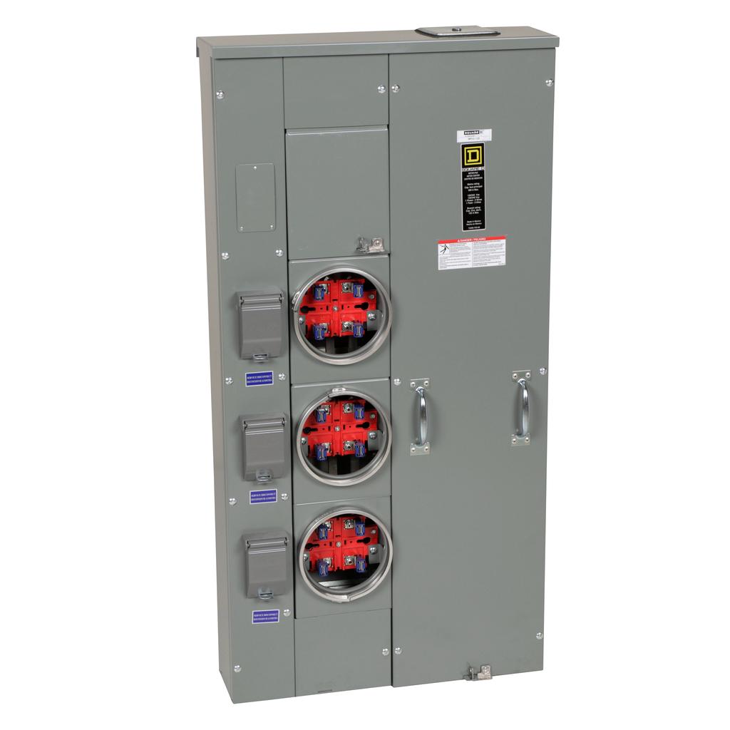 Mayer-MP Meter Pak, main lugs, three ringed sockets, no bypass, 4 jaws, 200 A bus, 125 A, 240 VAC, 1 PH, UG, OH-1