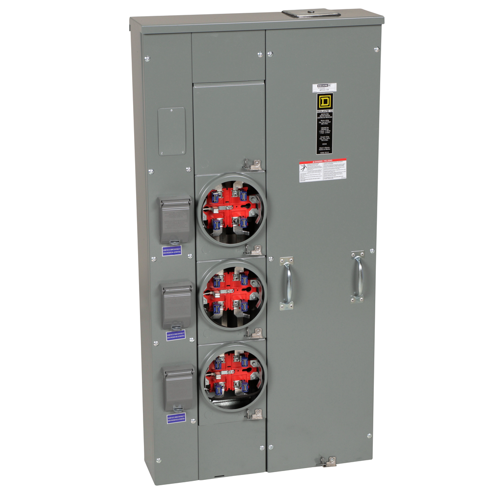 Mayer-MP Meter Pak, meter center, three ringless sockets, horn bypass, 5th jaw, 300 A bus, 125 A, 240 VAC single phase 3W-1