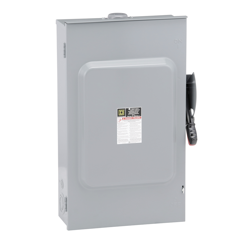 Mayer-Safety switch, heavy duty, fusible, 200A, 3 poles, 150 hp, 600 VAC/DC, NEMA 3R, bolt-on hub,-1
