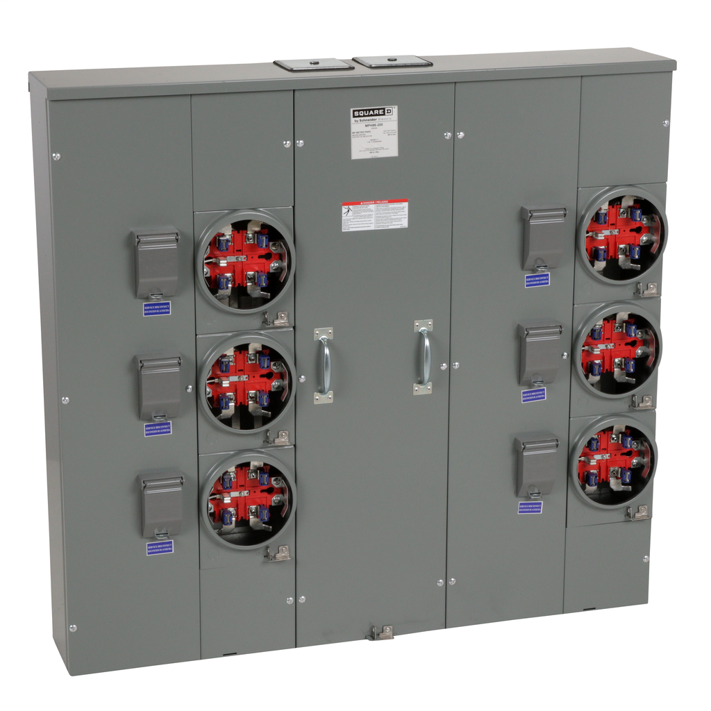 Mayer-MP Meter Pak, meter center, six ringless sockets, horn bypass, 5th jaw, 800 A bus, 200 A, 240 VAC single phase 3W-1