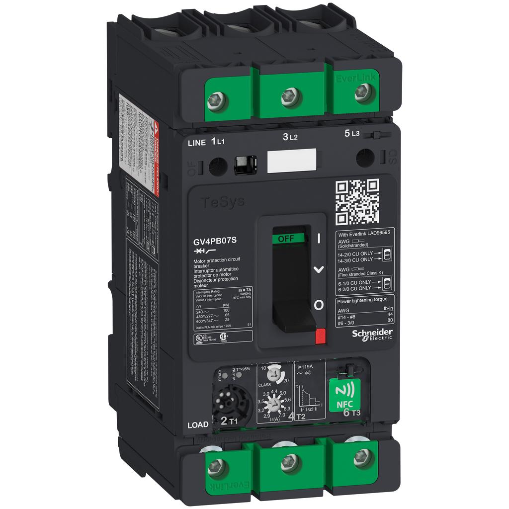 Mayer-Motor circuit breaker, TeSys GV4, 3P, 7A, Icu 100kA, thermal magnetic, multifunction, UL489-1