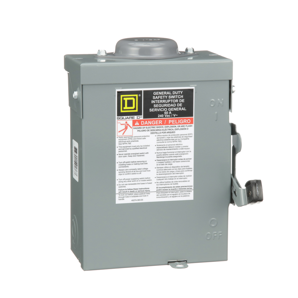 Mayer-Safety switch, general duty, non fusible, 60A, 3 poles, 15 hp, 240 VAC, NEMA 3R, bolt-on provision-1