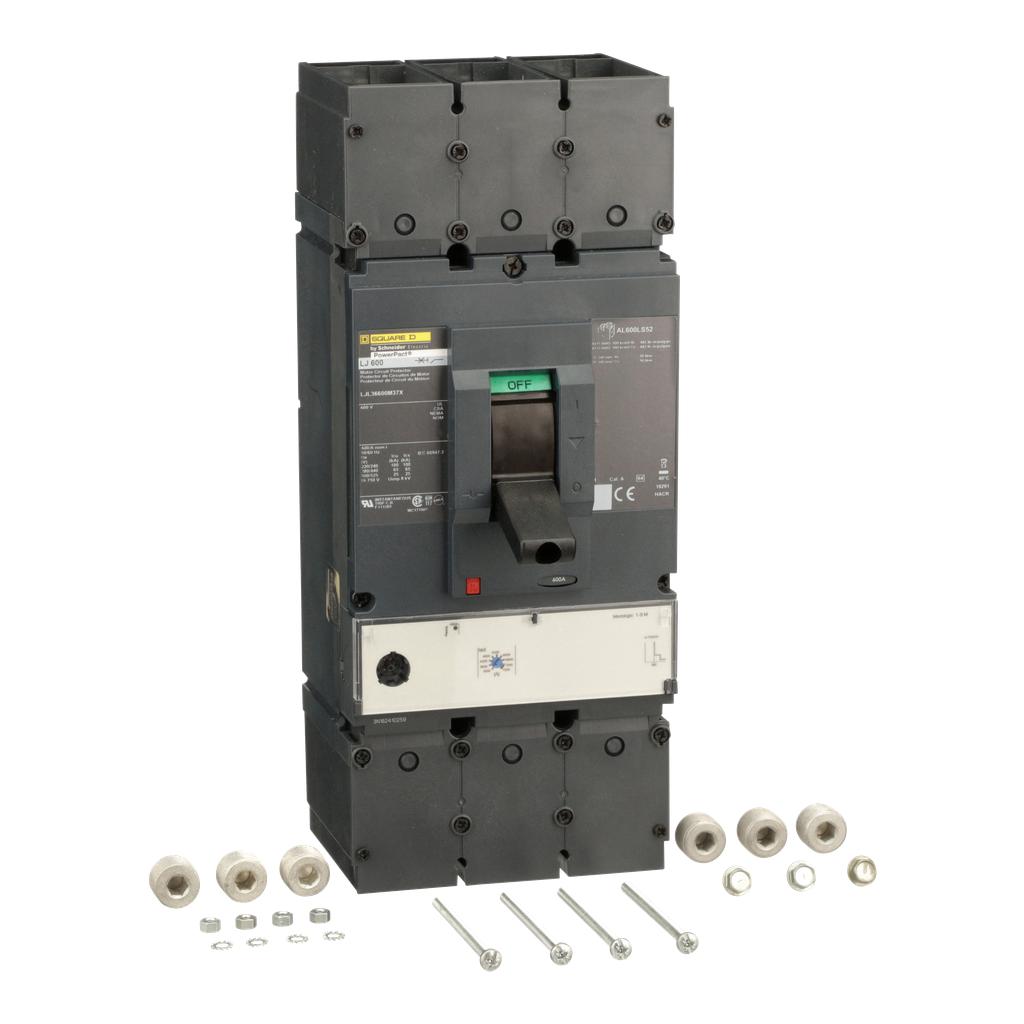 Mayer-Motor curcuit protector, PowerPact L, unit mount, magnetic trip unit, 600A, 3 pole, 25 kA, 600 VAC-1