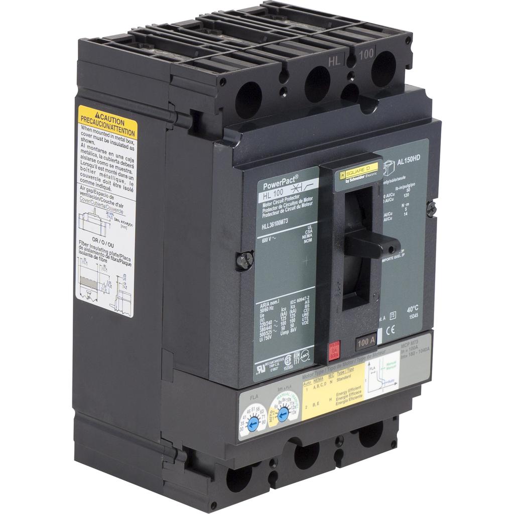 Mayer-Motor circuit protector, PowerPacT H, unit mount, 100A, 3 pole, 50kA, 600 VAC, 80% rated-1