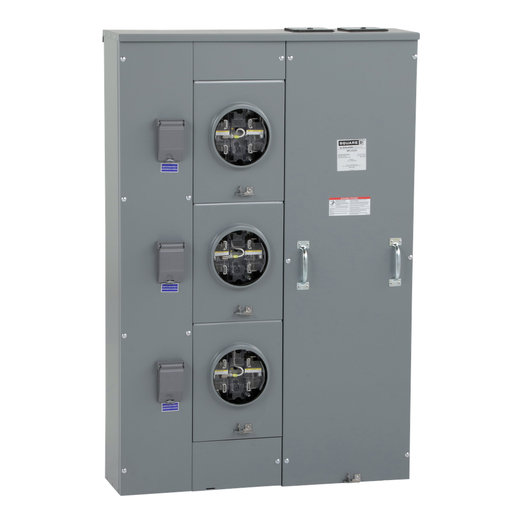 Mayer-MP Meter Pak, meter center, three ringless sockets, lever bypass, 5th jaw, OH, UG, 500 A bus, 225 A, 240 VAC single phase 3W-1