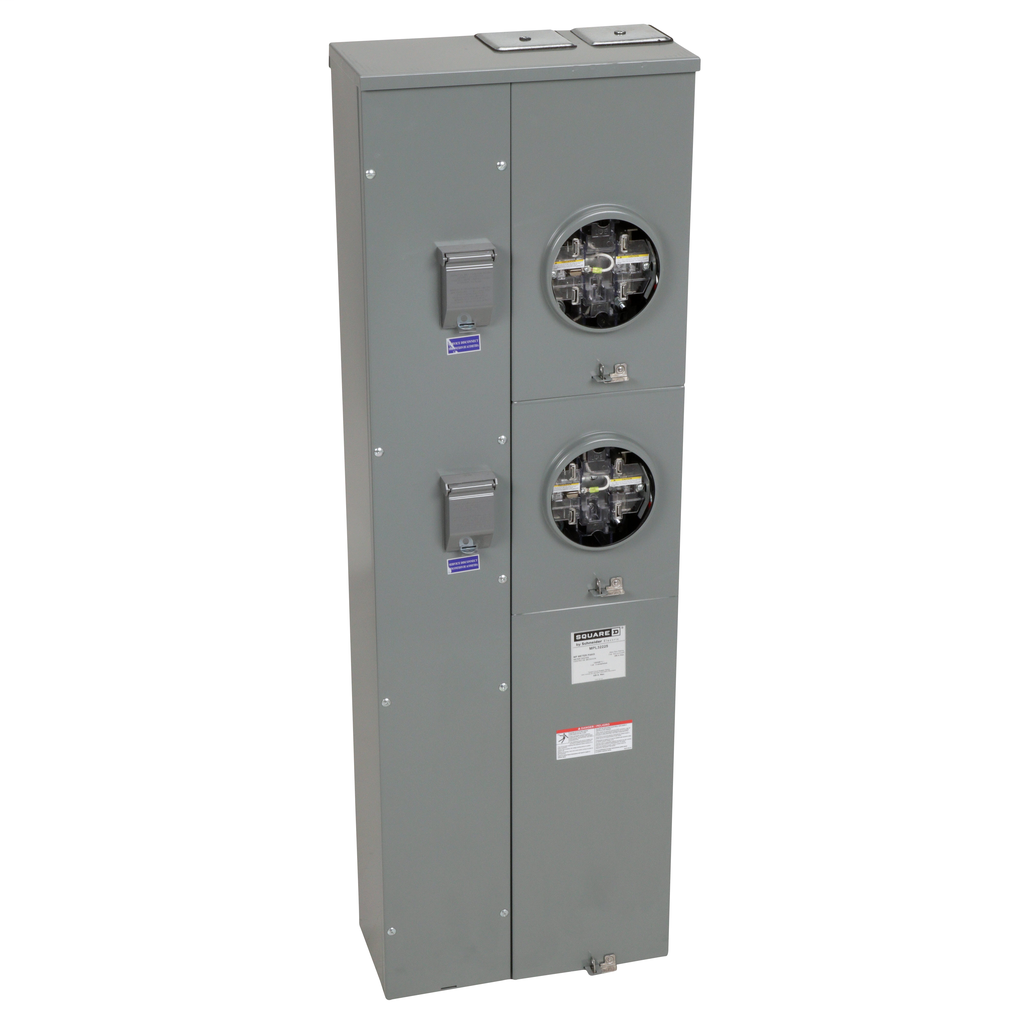 Mayer-MP Meter Pak, meter center, two ringless sockets, lever bypass, 5th jaw, OH, UG, 350 A bus, 225 A, 240 VAC single phase 3W-1