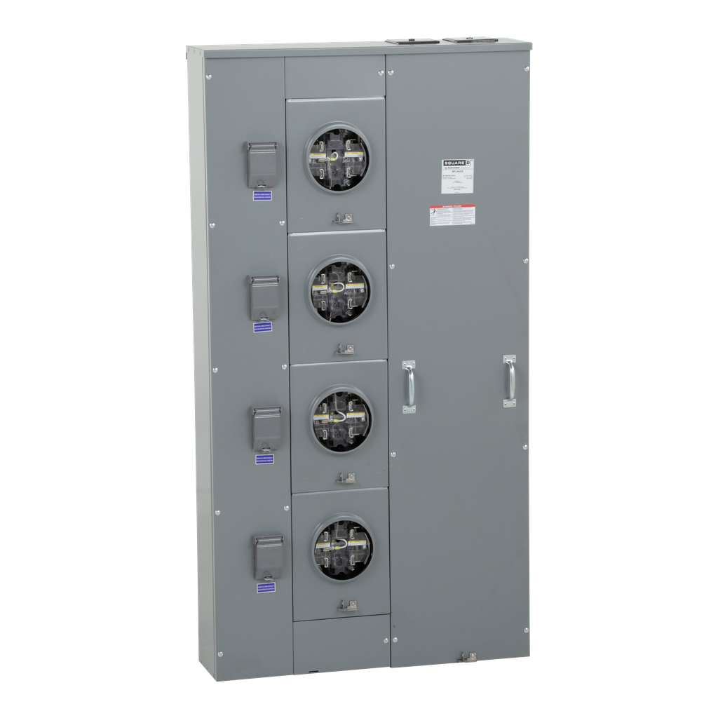 Mayer-MP Meter Pak, meter center, four ringless sockets, lever bypass, 5th jaw, OH, UG, 600 A bus, 225 A, 240 VAC single phase 3W-1