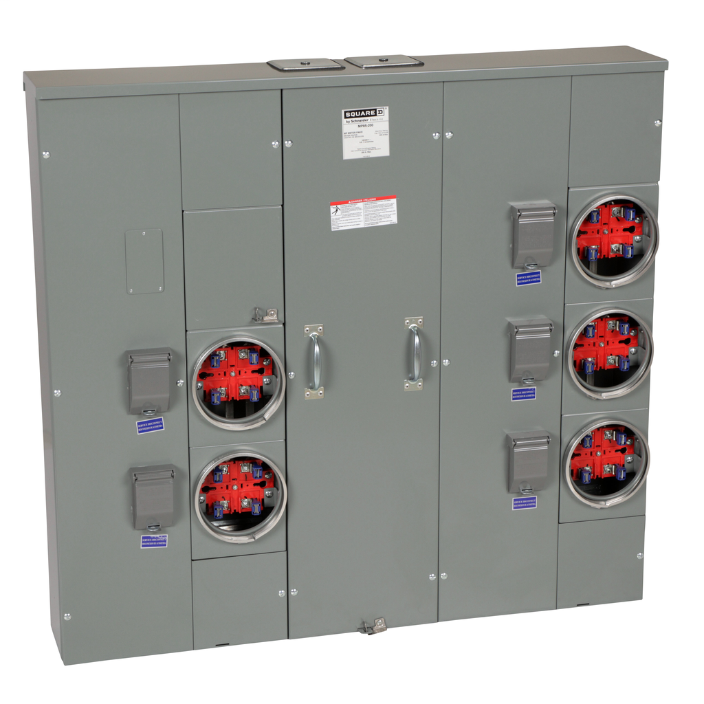 Mayer-MP Meter Pak, main lugs, five ringed sockets, no bypass, 4 jaws, OH, UG, 800 A bus, 200 A, 240 VAC single phase 3W-1