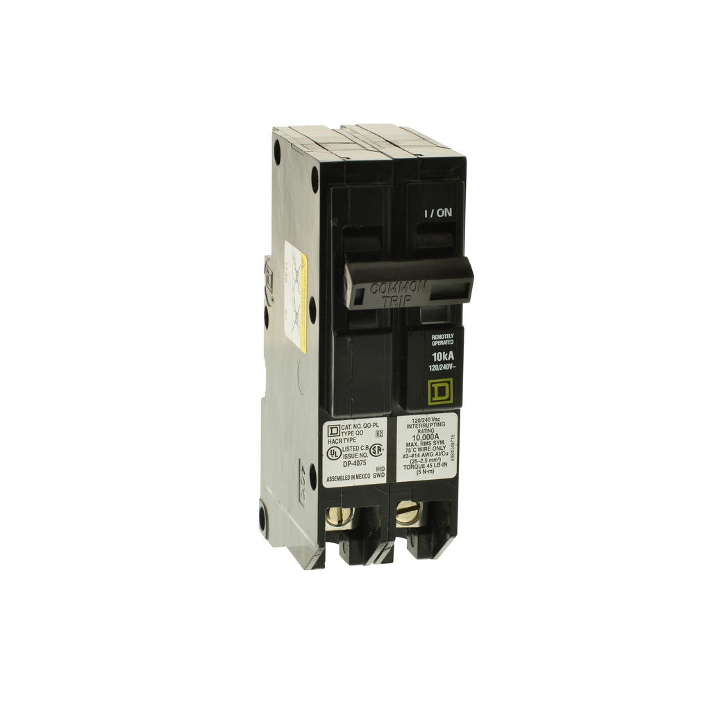 Mayer-Mini circuit breaker, QO, 50A, 2 pole, 120/240 VAC, 10 kA, Powerlink, load shedding, plug in mount-1