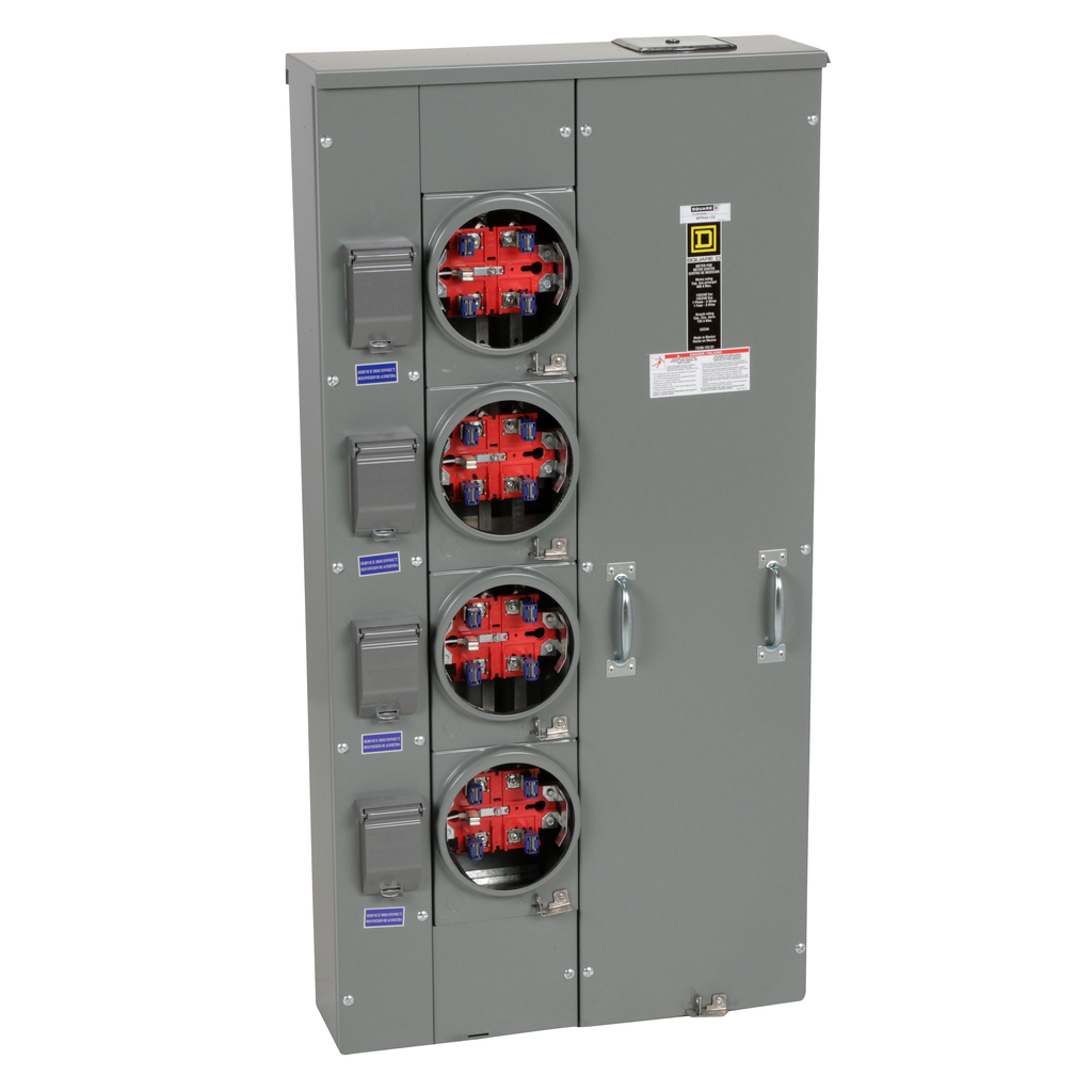 Mayer-MP Meter Pak, meter center, four ringless sockets, no bypass, 5th jaw, OH, UG, 400 A bus, 125 A, 240 VAC single phase 3W-1