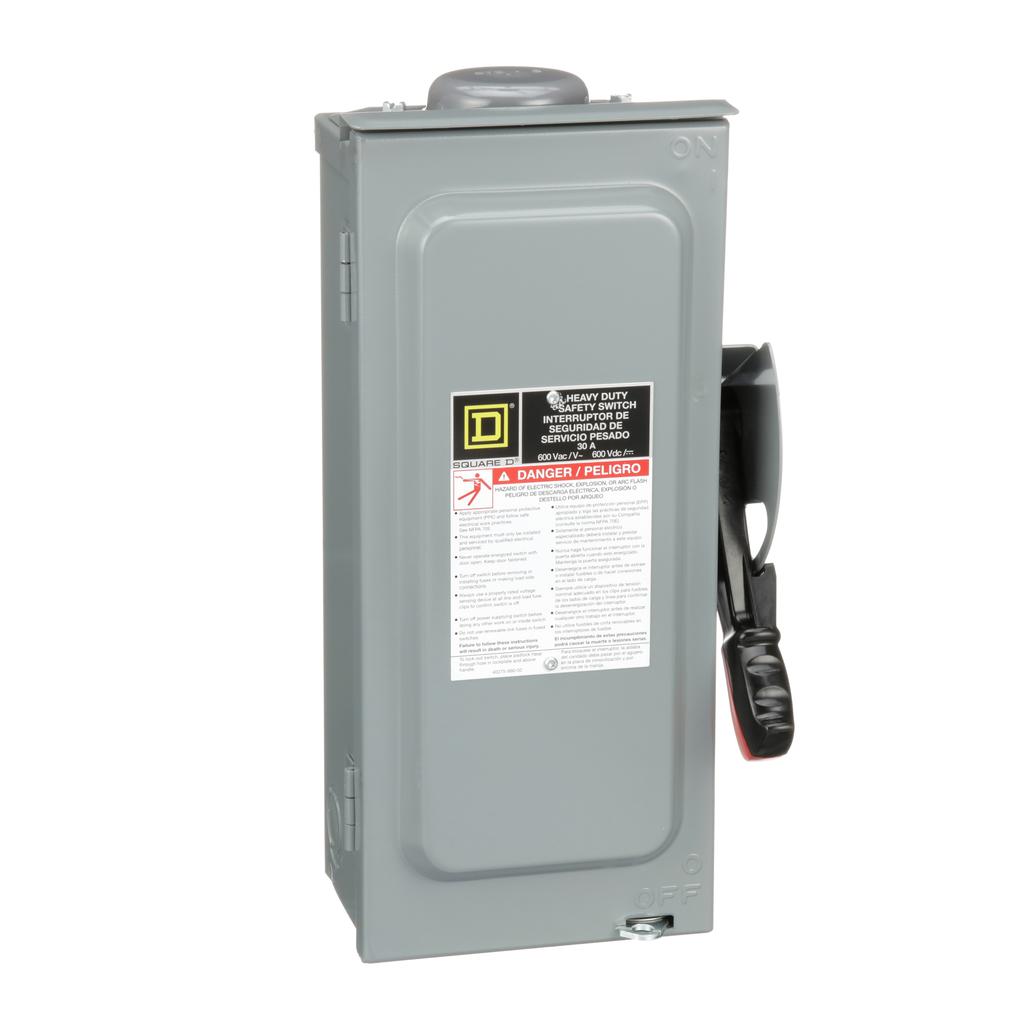 Mayer-Safety switch, heavy duty, fusible, 30A, 3 poles, 20 hp, 20 hp, 600 VAC/DC, NEMA 3R, bolt-on hub,-1