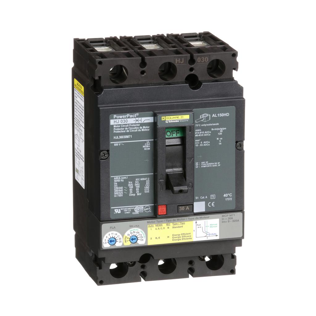 Mayer-Motor circuit protector, PowerPacT H, unit mount, 30A, 3 pole, 25kA, 600 VAC, 80% rated-1