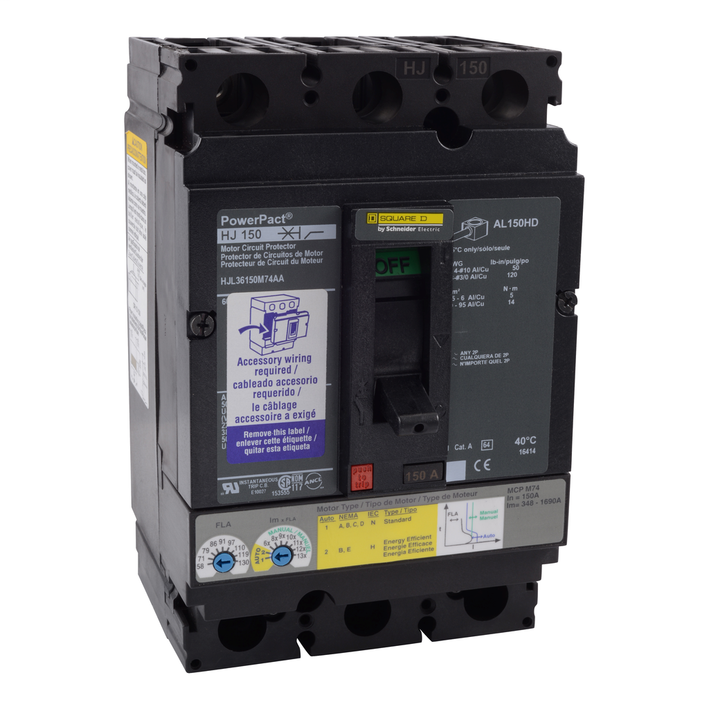 Mayer-Motor circuit protector, PowerPacT H, unit mount, 150A, 3 pole, 25 kA, 600 VAC, auxiliary switch, 80% rated-1