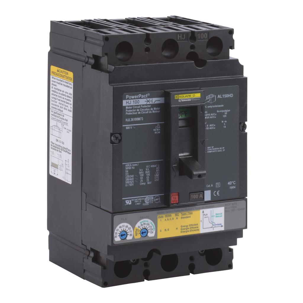 Mayer-Motor circuit protector, PowerPacT H, unit mount, 100A, 3 pole, 25 kA, 600 VAC, 80% rated-1