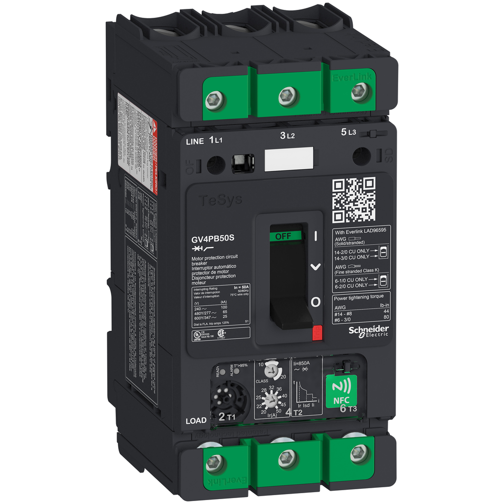 Mayer-Motor circuit breaker, TeSys GV4, 3P, 50A, Icu 100kA, thermal magnetic, multifunction, UL489-1