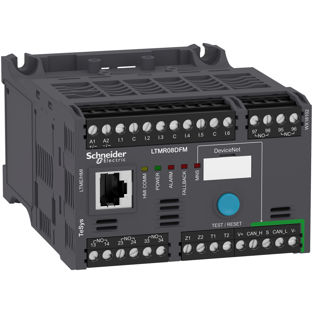 Mayer-Motor Management, TeSys T, motor controller, DeviceNet, 6 logic inputs, 3 relay logic outputs, 0.4 to 8A, 100 to 240 VAC-1
