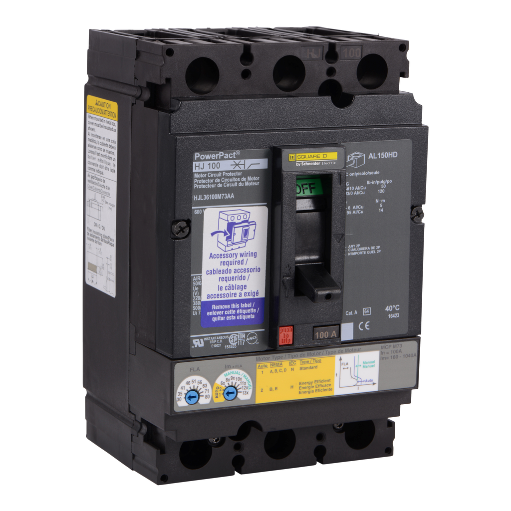 Mayer-Motor circuit protector, PowerPacT H, unit mount, 100A, 3 pole, 25 kA, 600 VAC, shunt trip, 80% rated-1