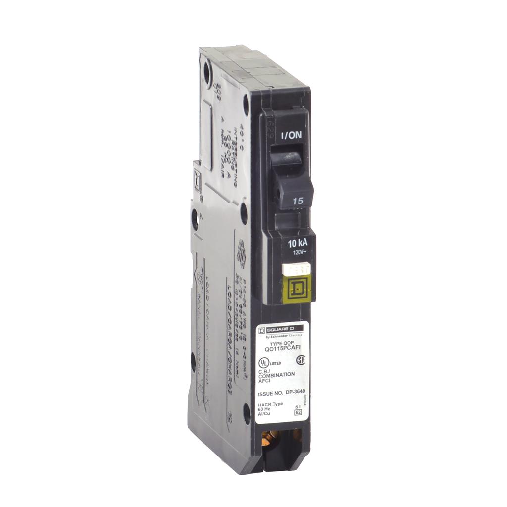 Mayer-Mini circuit breaker, QO, 15A, 1 pole, 120 VAC, 10 kA, combo arc fault, plug on neutral, plug in mount-1