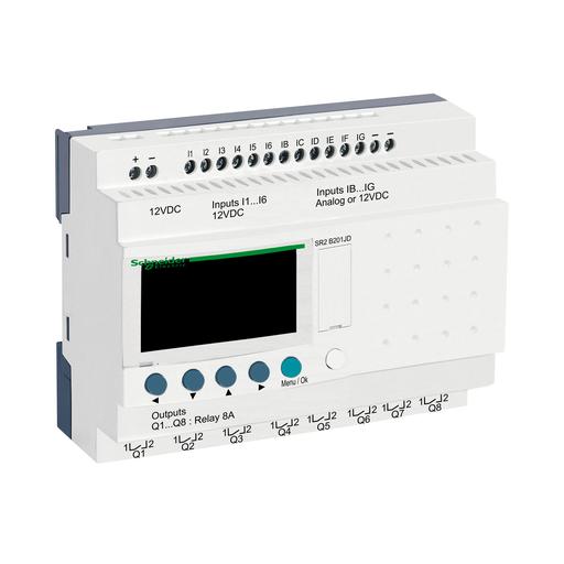 Mayer-Compact smart relay, Zelio Logic, 20 I/O, 12 VDC, clock, display-1