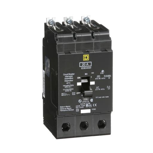 Mayer-Mini circuit breaker, E-Frame, 20A, 3 pole, 480Y/277 VAC, 25 kA max, bolt on-1