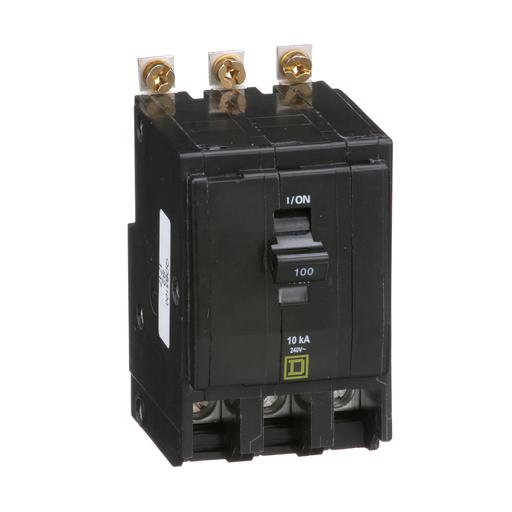 Mayer-Mini circuit breaker, QO, 100A, 3 pole, 120/240 VAC, 10 kA, bolt on mount-1