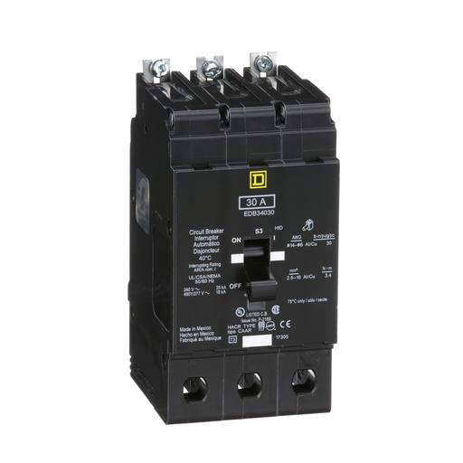 Mayer-Mini circuit breaker, E-Frame, 30A, 3 pole, 480Y/277 VAC, 25 kA max, bolt on-1