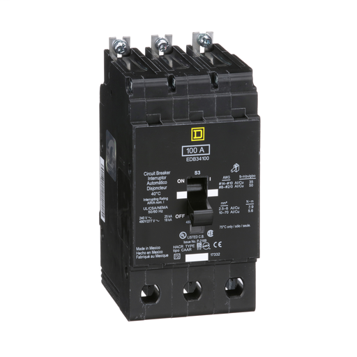 Mayer-Mini circuit breaker, E-Frame, 100A, 3 pole, 480Y/277 VAC, 25 kA max, bolt on-1