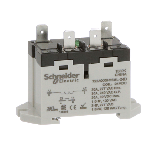Mayer-Power relay, Legacy, 30A, 1NO, 24 VDC, LED push button, blade terminals, DIN or panel mount-1