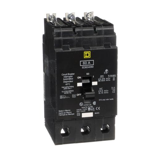 Mayer-Mini circuit breaker, E-Frame, 60A, 3 pole, 480Y/277 VAC, 25 kA max, bolt on-1