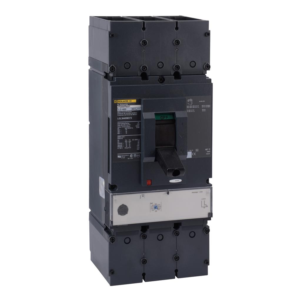 Mayer-Motor curcuit protector, PowerPact L, unit mount, 400A, 3 pole, 50 kA, 600 VAC, magnetic trip unit-1