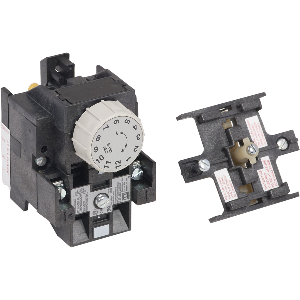 Mayer-NEMA Control Relay, Type X, pneumatic timer attachment, one minute on delay, 10A resistive at 600 VAC, 1 NO and 1 NC-1
