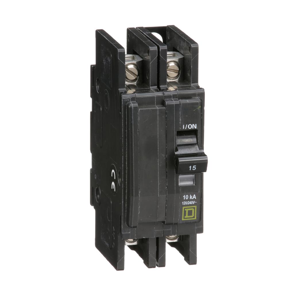 Mayer-Mini circuit breaker, QOU, 15A, 2 pole, 120/240 VAC, 10kA, bulk pack-1