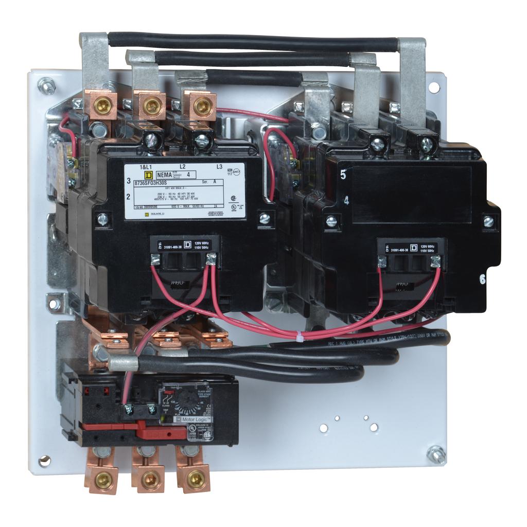 Mayer-NEMA Starter, Type S, reversing, horizontal, Size 4, 135A, 100 HP at 575 VAC, up to 100 kA SCCR, 3 phase, 3 pole, Motor Logic SSOLR, 120 V coil, open-1