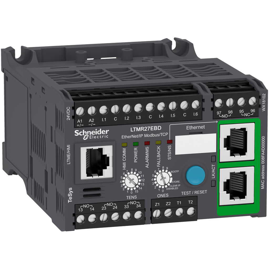 Mayer-Motor Management, TeSys T, motor controller, Ethernet/IP, Modbus/TCP, 6 inputs, 3 logic outputs, 1.35 to 27A, 24 VDC-1