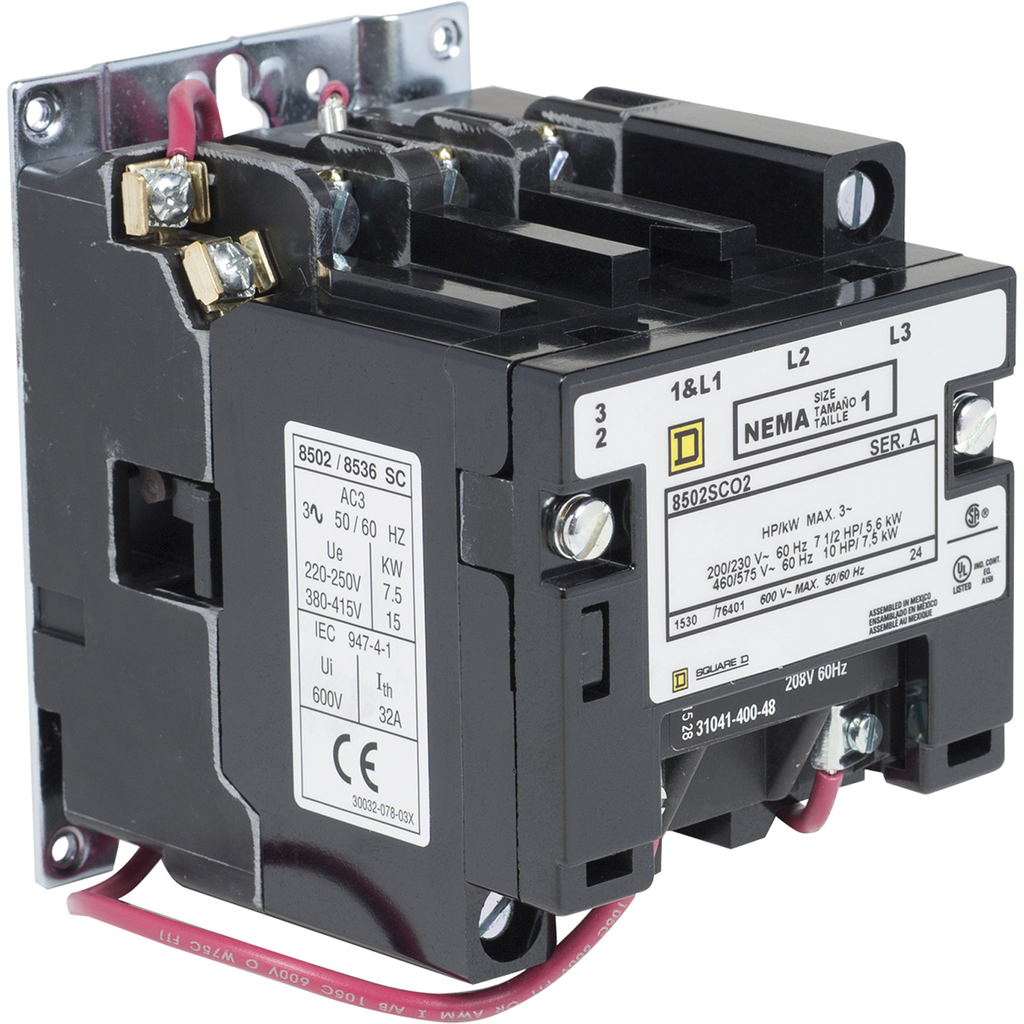 Mayer-NEMA Contactor, Type S, nonreversing, Size 1, 27A, 10 HP at 575 VAC, 3 phase, up to 100 kA, 3 pole, 208 VAC coil, open-1